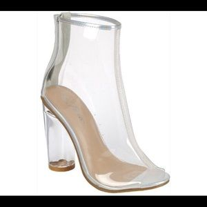 Shoes - 💕New! Clear Open Peep Toe Chunky Heel Booties💕